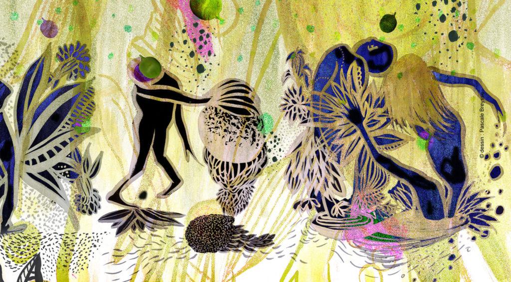 """La Constellation des Petits Pois - conférence dansée jeune public sur les mystères de l'Univers - poésie de la science par la danse - """"crédit photo dessin Pascale Breysse Cie Reveida tous droits réservés"""""""