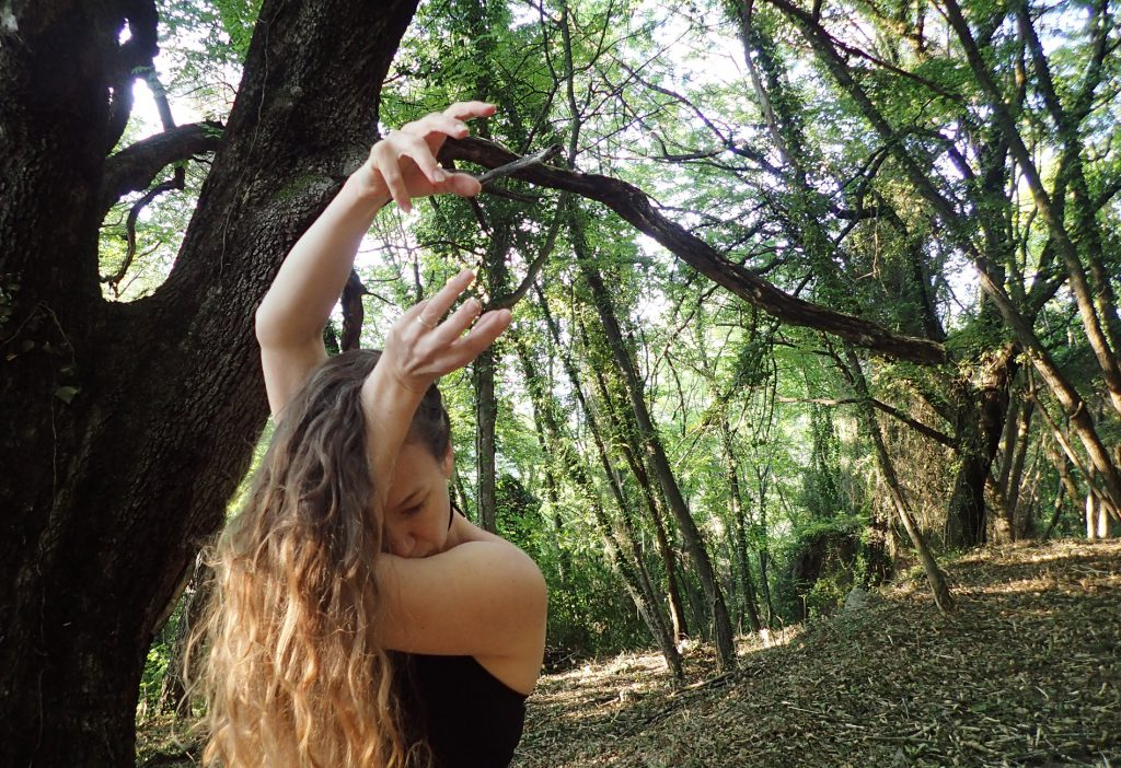 """Travail en cours dans la forêt pour Nous n'irons Plus au Bois - danse jeune public et écologie - """"crédit photo Cie Reveida tous droits réservés"""""""