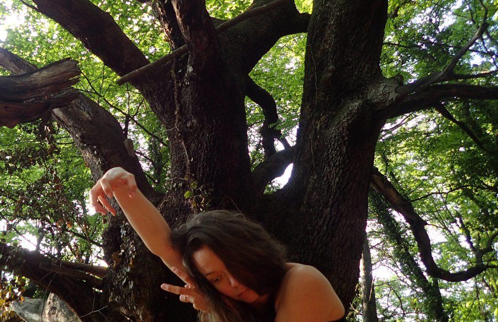 """Travail en cours dans la forêt pour Nous n'irons Plus au Bois - """"crédit photo Cie Reveida tous droits réservés"""""""